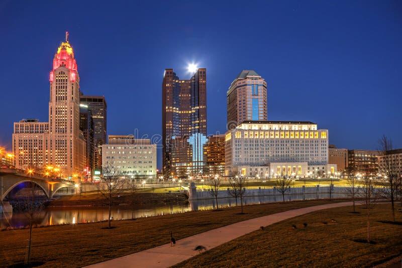 Columbus du centre, Ohio à l'aube photos stock