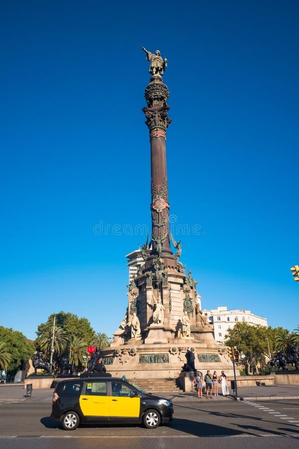 Columbus Monument Barcelona, Spanien arkivfoton