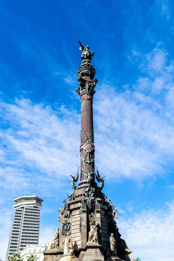 Columbus Monument Mirador de Colom, un monumento a Christopher Columbus en Barcelona, España fotos de archivo