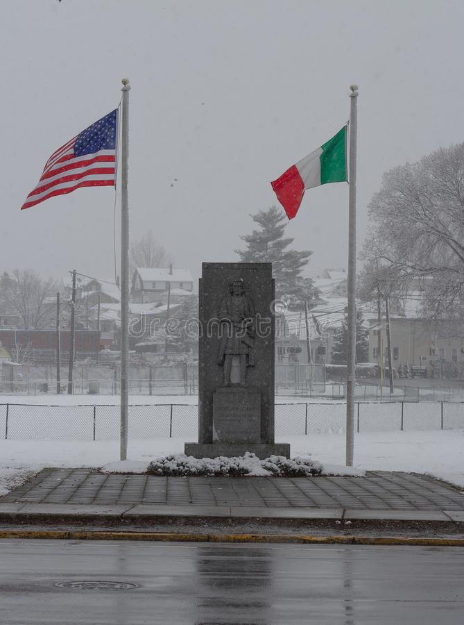 Columbus monument on a snowy day stock photo