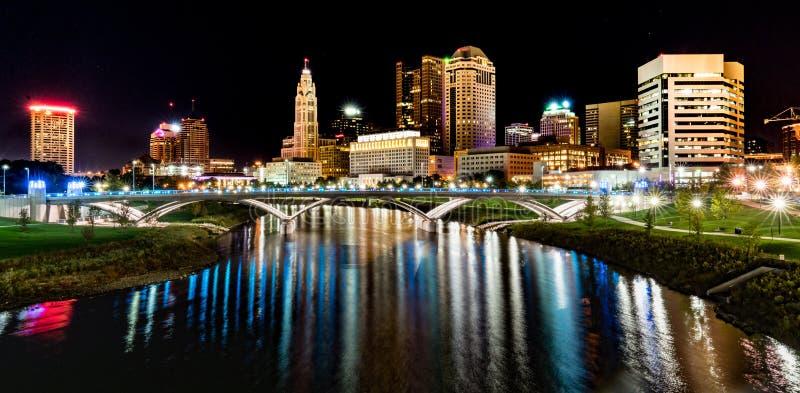 Columbus Night Skyline images libres de droits