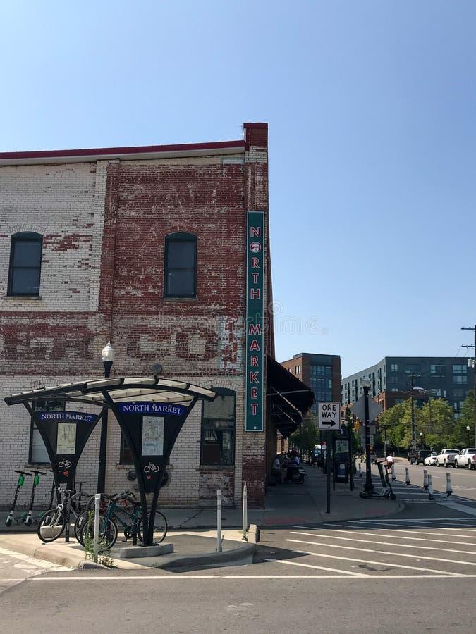 Columbus, Ohio - 2 agosto 2019: Mercato del nord a Columbus del centro fotografia stock libera da diritti