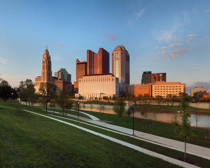 Columbus, Ohio an der Dämmerung stockfoto