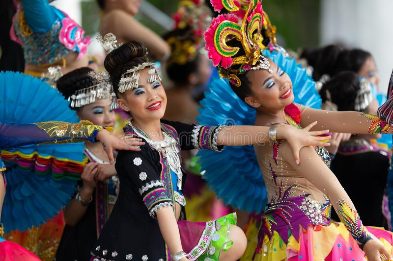 Asian Festival. Columbus, Ohio, USA - May 26, 2019: Columbus Asian Festival, Young girls performing Hmong traditional dances, in the amphitheater at Franklin stock photos