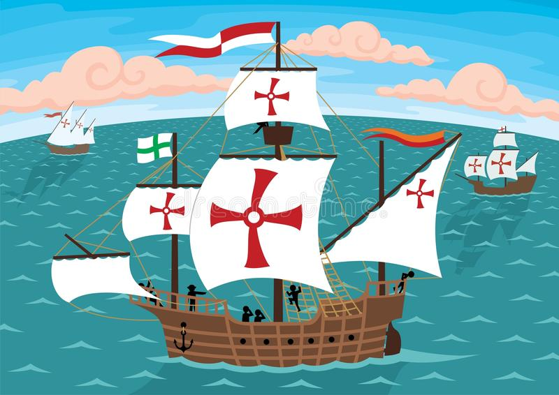 Columbus's Ships. The ships of Christopher Columbus on their way to America. Remove the crosses and you will get three ordinary sail ships. No transparency and
