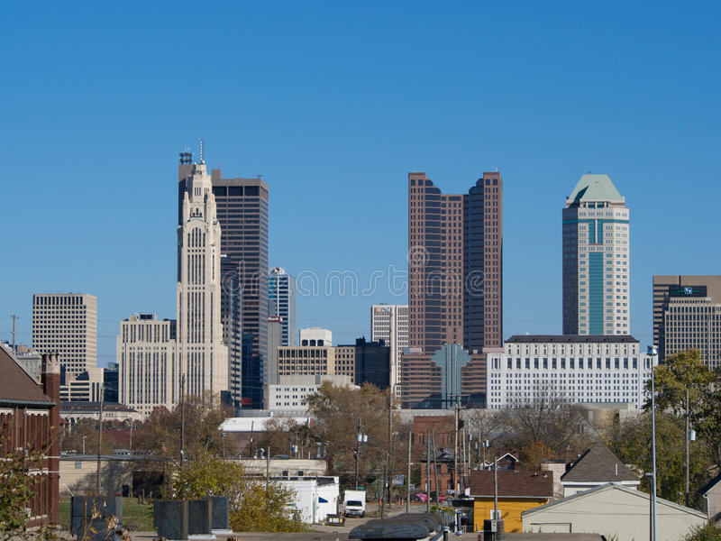 Columbus Skyline dal garage fotografia stock libera da diritti