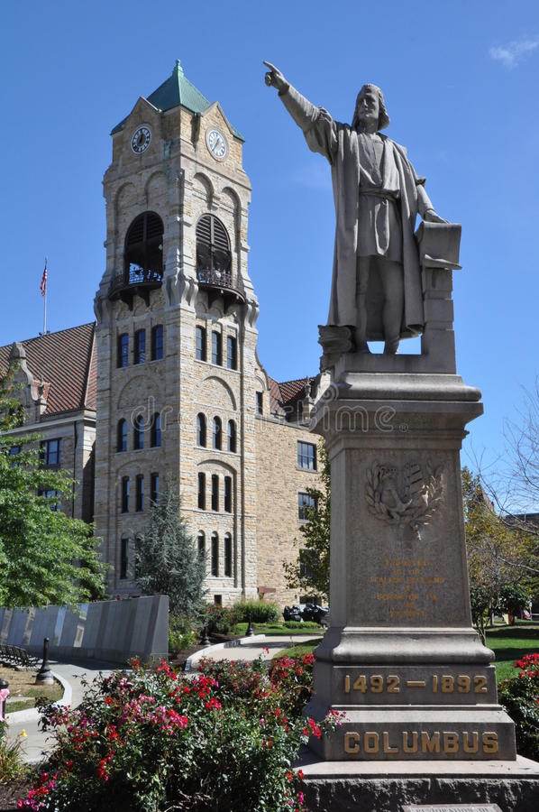 Columbus Statue lizenzfreies stockbild
