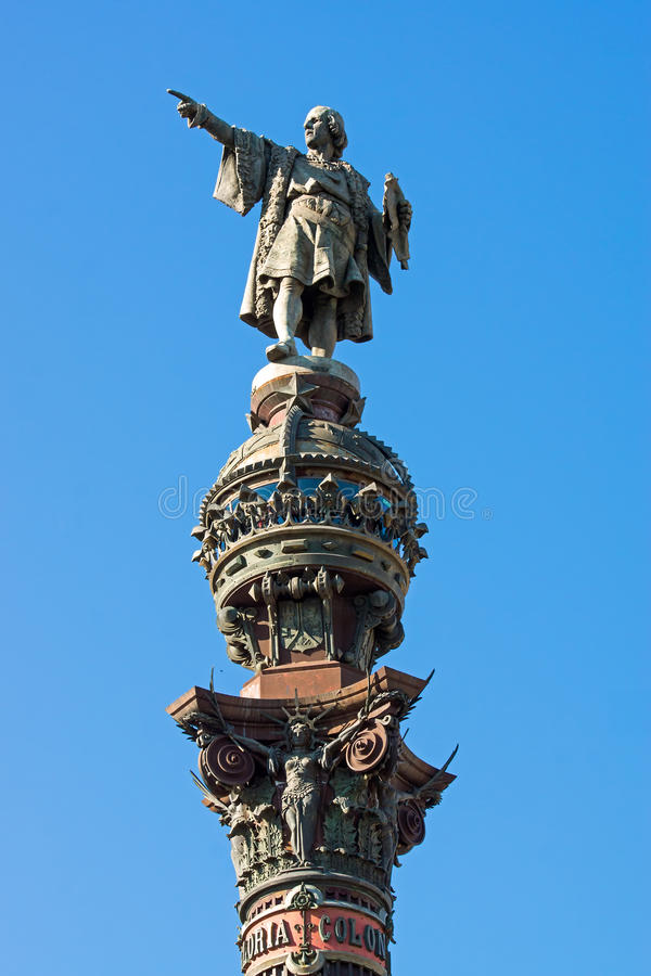 Columbus statue in Barcelona. The Columbus statue at the end of La Rambla in Barcelona royalty free stock photos