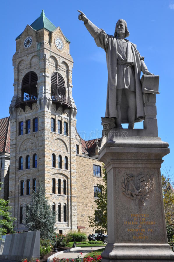 Columbus statue at Lackawanna County Courthouse in Scranton, Pennsylvania. Statue to Columbus on grounds of Lackawanna County Courthouse in Scranton royalty free stock photos