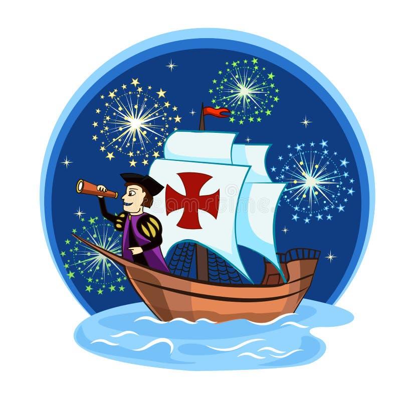 Columbus sur le bateau 2 illustration stock
