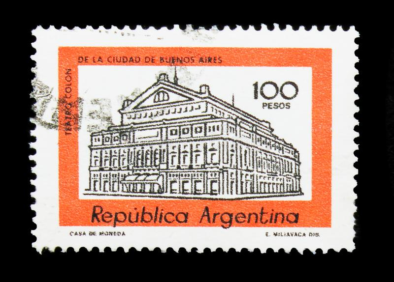 Columbus Theatre, Buenos Aires, Building definitives serie, circ. MOSCOW, RUSSIA - MARCH 18, 2018: A stamp printed in Argentina shows Columbus Theatre, Buenos stock photo