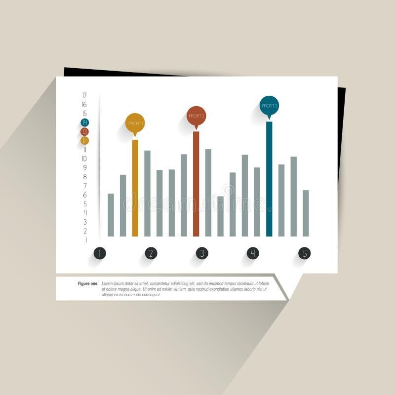 Colummn diagram, graf Enkelt redigerbar färg stock illustrationer