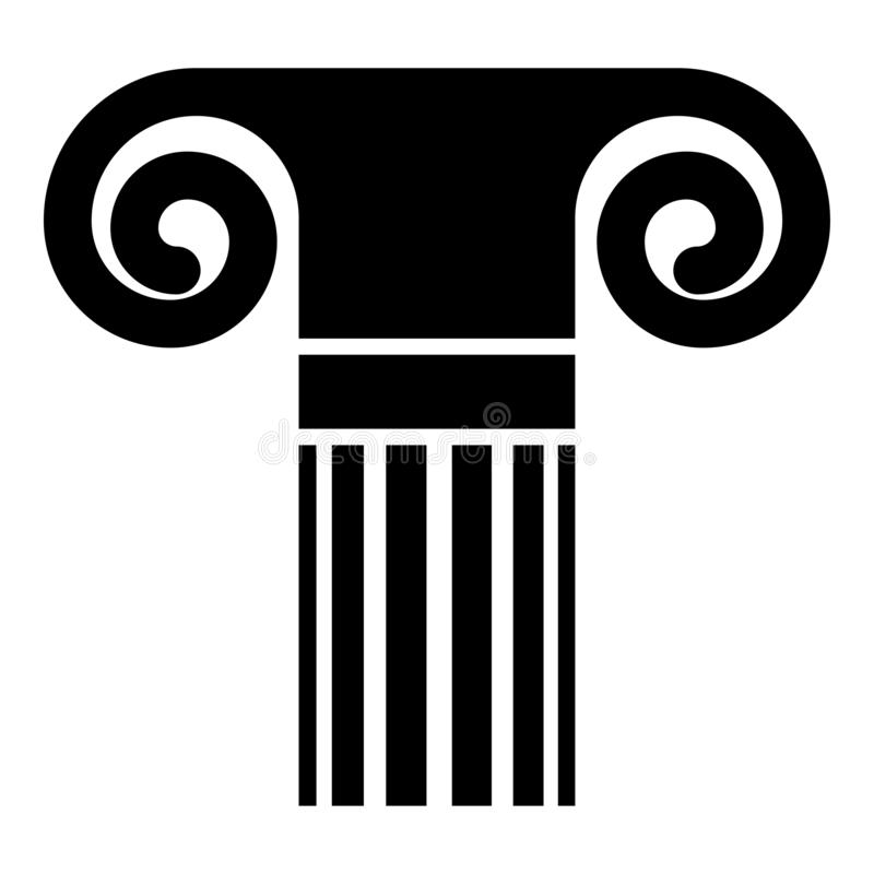 Column ancient style Antique classical column architecture element Pillar Greek roman column icon black color vector illustration vector illustration