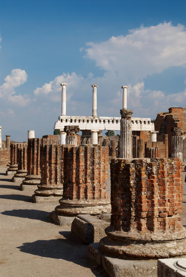 Column Bases, Pompeii, Italy. A line of brick column bases, Pompeii, Italy stock photography
