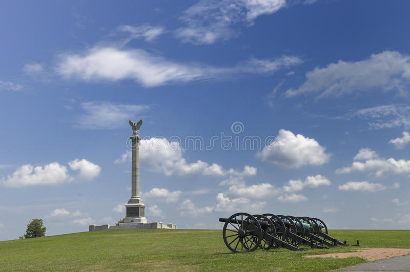 Column and Cannons. Monument and cannons at Antietam National Battlefield, Maryland royalty free stock images