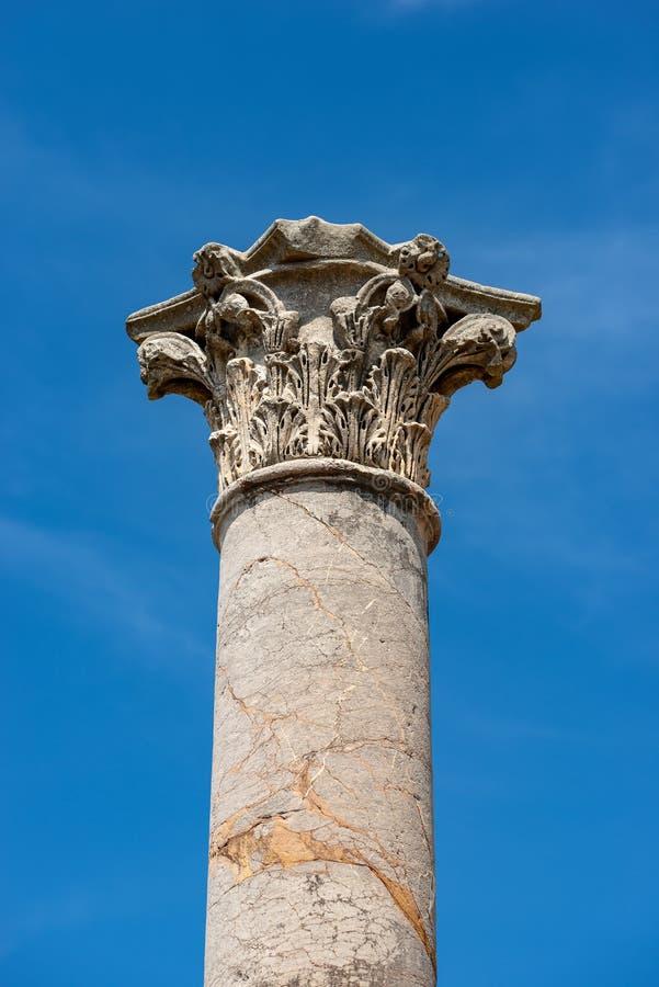 Column with capital in Corinthian style - Ostia Antica Rome stock photo