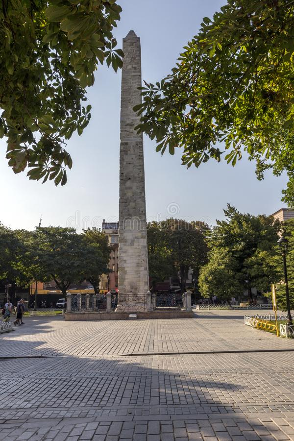 Column composed of marble stones, obelisk of ancient times of the Byzantine Empire. stock images