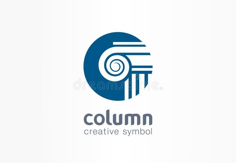 Column creative symbol concept. Capital antique pillar abstract business architect order logo. Ancent museum, bank stock illustration