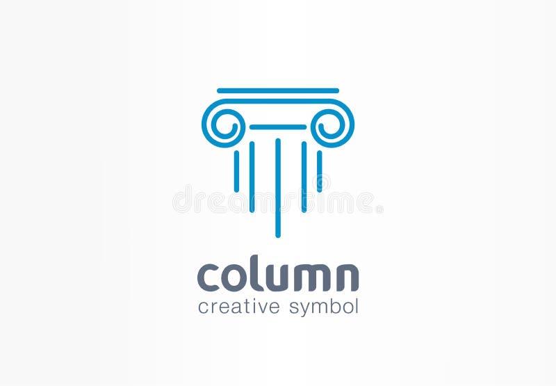 Column creative symbol concept. Capital antique pillar abstract business architect order logo. Ancent museum, bank vector illustration