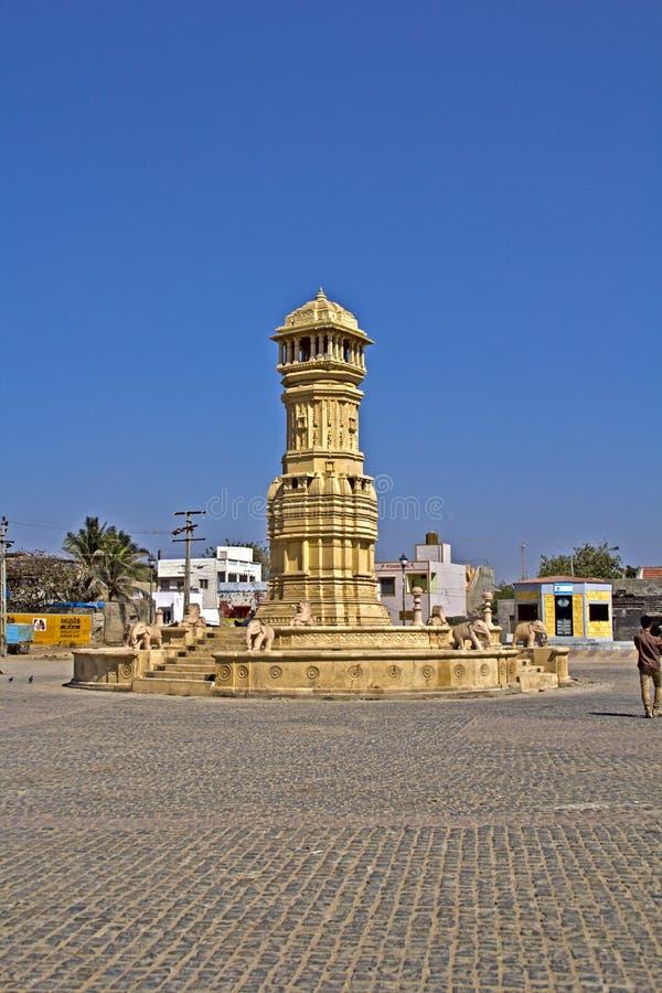Column in Dwarka. FEB 10, 2015, DWARKA, INDIA - Column on the Dwarka embankment royalty free stock photos
