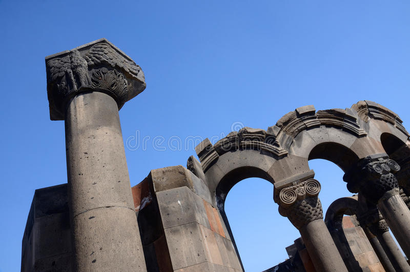 Column with eagle figure at Zvartnots temple ruins,Armenia royalty free stock images