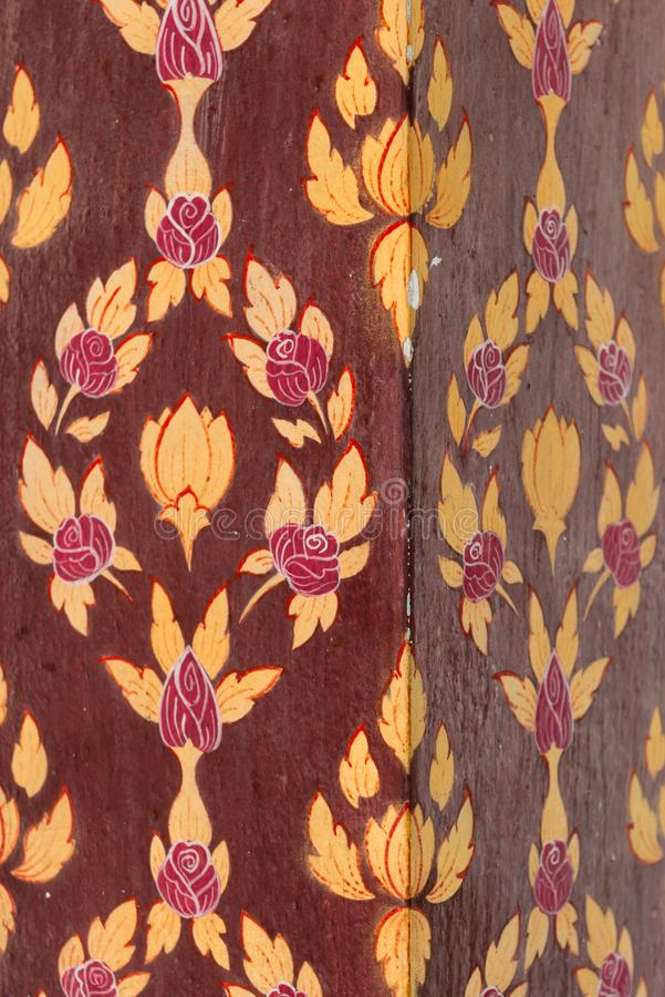 Download Column With Floral Painting In Red And Yellow Colors Stock Image - Image: 102084573