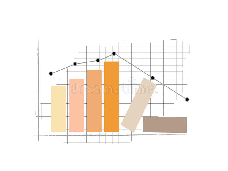 Column Graph. Bar graph with a graph showing the increase in the beginning and then decreased later stock illustration