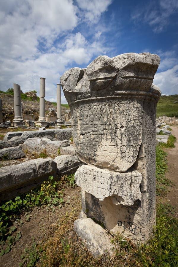 Column with Greek Text at Perga in Turkey. Ruins of Column with Greek Text at Perga in Turkey stock photos