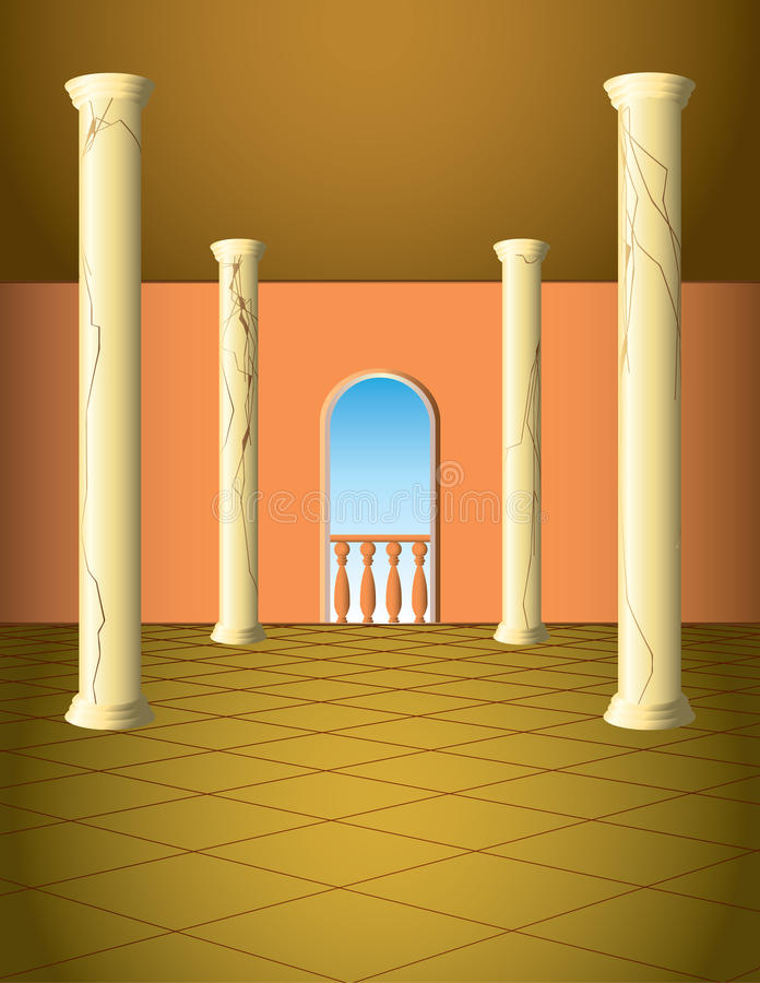 Column hall with window royalty free illustration