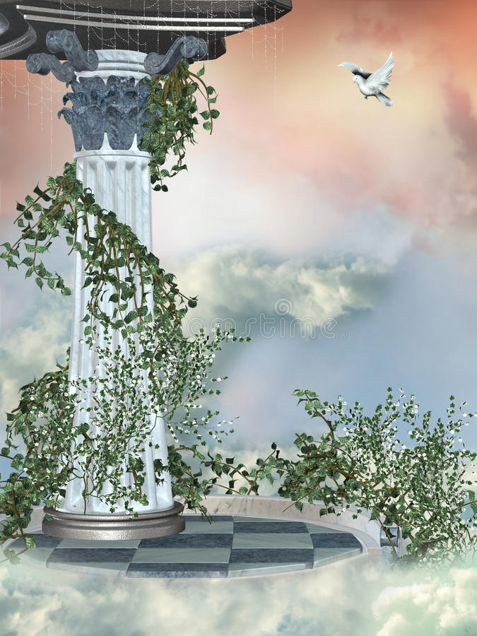 Column in the heaven. With dove stock illustration