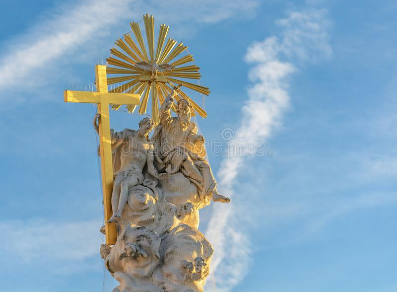 Column of the Holy Trinity plague column in Baden near Vienna. Austria. Fragment of the Holy Trinity Column plague column in Baden near Vienna for Christmas stock images