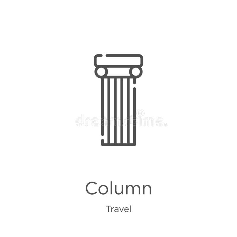 Column icon vector from travel collection. Thin line column outline icon vector illustration. Outline, thin line column icon for. Column icon. Element of travel royalty free illustration