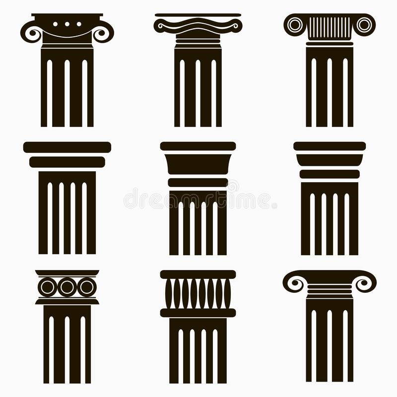 Column icons. Set of ancient architecture pillars. Vector. vector illustration