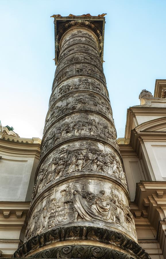 A Column of Karlskirche, St. Charles Church, in Vienna, Austria stock photos