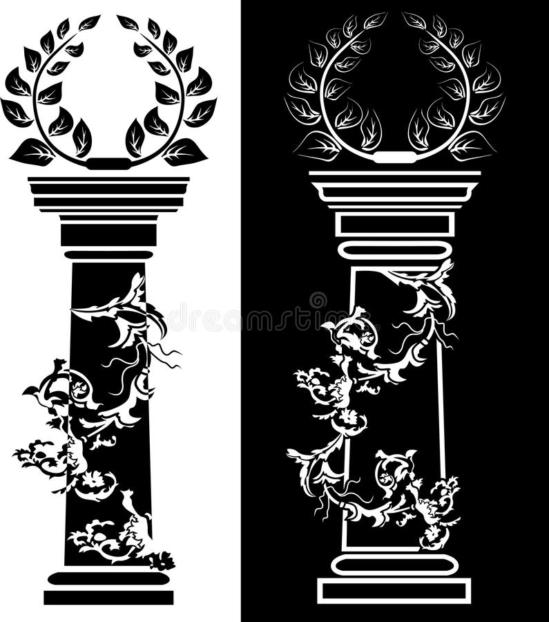 Column with a laurel wreath the concept a victory