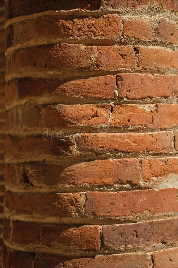 Column made of bricks forming a charming pattern at Merida. Column made of bricks in a sunny day, forming a charming pattern at Merida. Founded by ancient Rome stock image