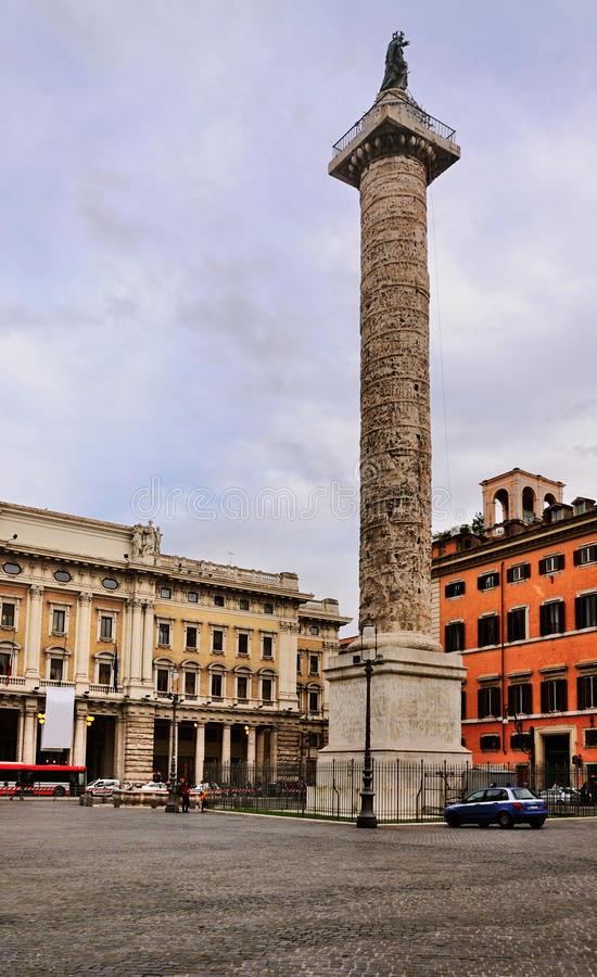 Column of Marcus Aurelius royalty free stock photo