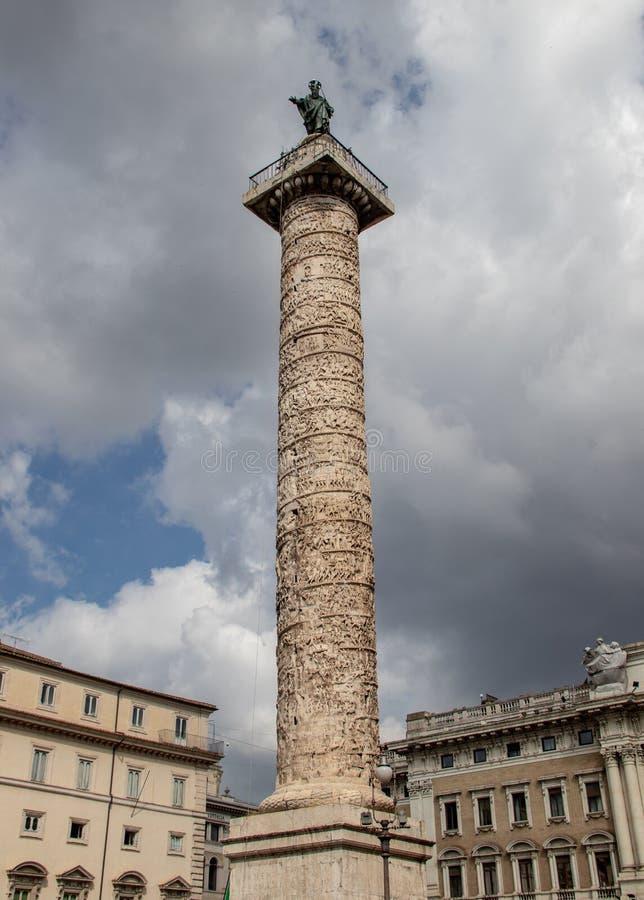 Column of Marcus Aurelius in Rome royalty free stock image