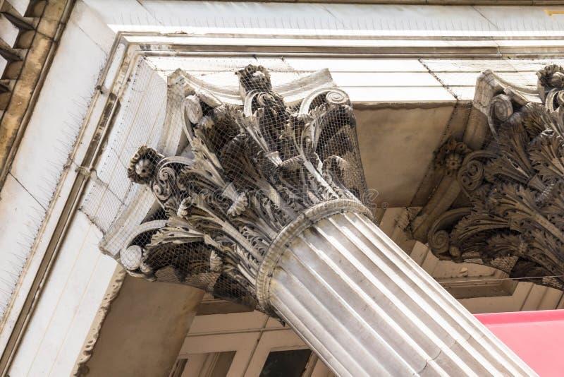 Column of National gallery on Trafalgar Square. London royalty free stock photos