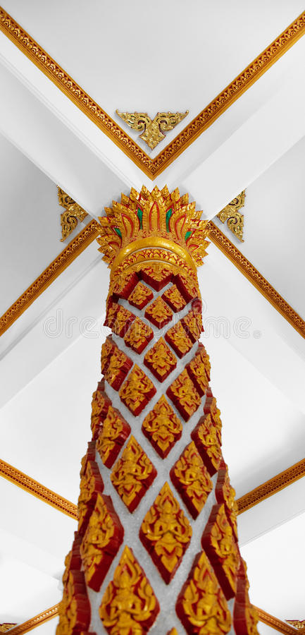 Column in old Buddhist monastery royalty free stock image