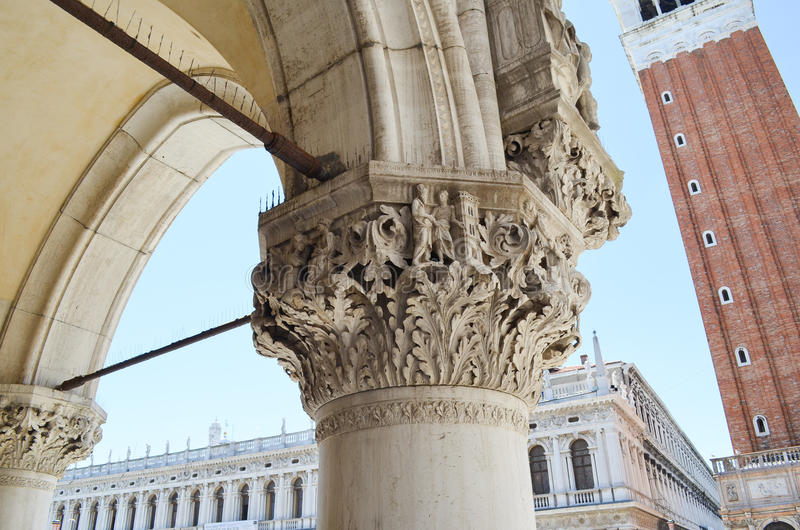 Column of Palazzo Ducale in Venice,Italy. Detail of Palazzo Ducale in Venice,Italy royalty free stock image