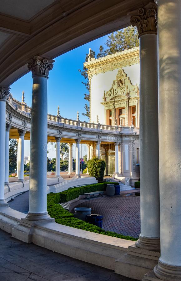 Balboa Park Pathway to the Organ Pavilion. This column pathway leads to the Spreckels Organ Pavilion in Balboa Park in San Diego royalty free stock photo