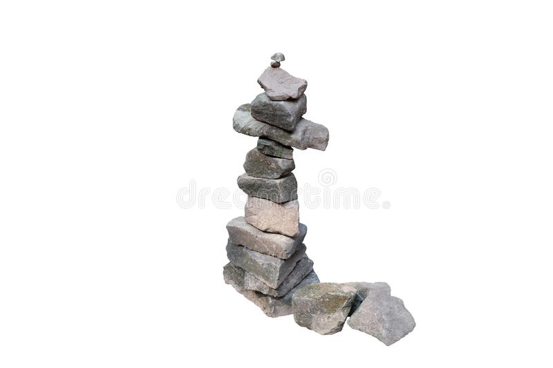 A column of pebbles among the ancient ruins. Ð¡olumn of stones. Isolated. White background.  royalty free stock photos