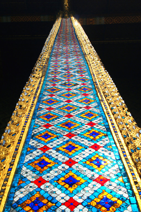The column of the Temple of the Emerald Buddha. Thailand stock photography