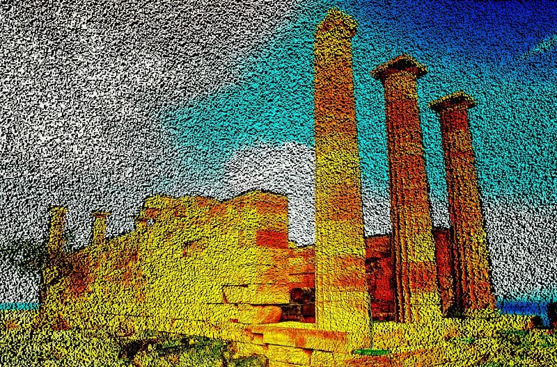 Column temple of goddess Linda on the island of Rhodes , pixel art technology of 3D cubes. 3D illustration stock illustration