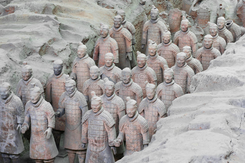 A Column Of Terracotta Army Soldiers Stock Photography