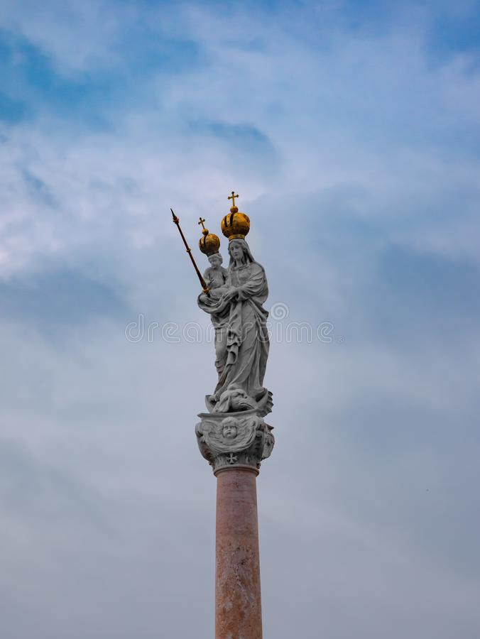 Column of the Virgin Mary and Baby Jesus in the Main Square of Gyor Hungary.  royalty free stock photos