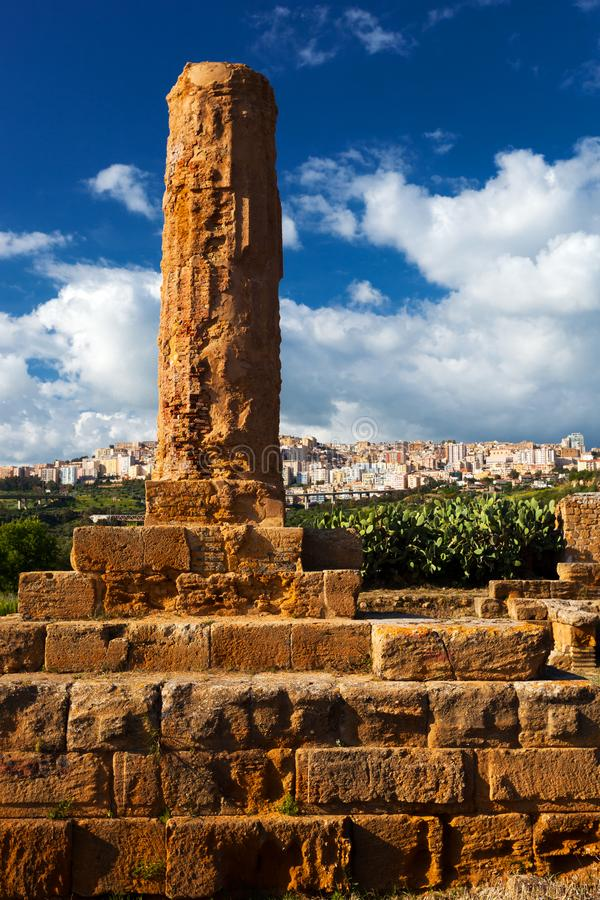 Column of the Volcano Temple in Agrigento archaeological park. S stock image