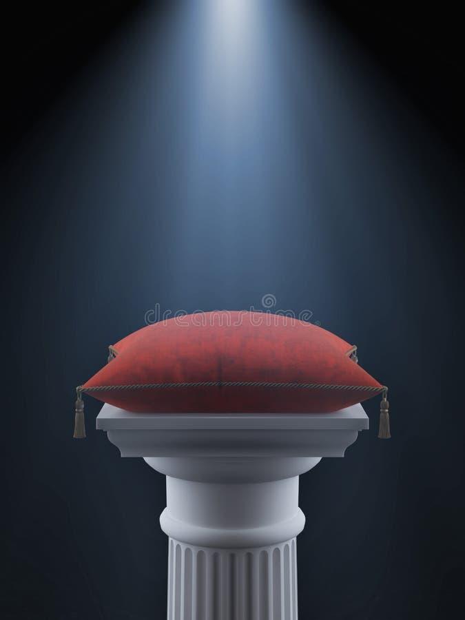 Columna blanca con la almohada roja del terciopelo stock de ilustración