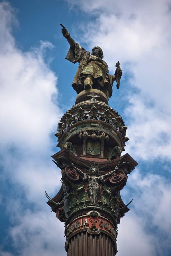 Columna de Christopher Columbus en Barcelona imagenes de archivo